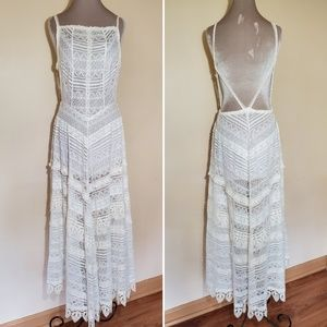 Free People Meadows Maxi Lace Slip Dress White